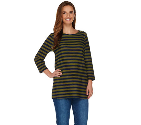 Isaac Mizrahi Live! Textured Stripe Knit Top w/ Button Detail