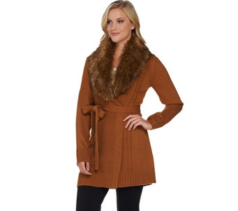 Dennis Basso Mix Stitch Belted Cardigan with Faux Fur Collar - A280529