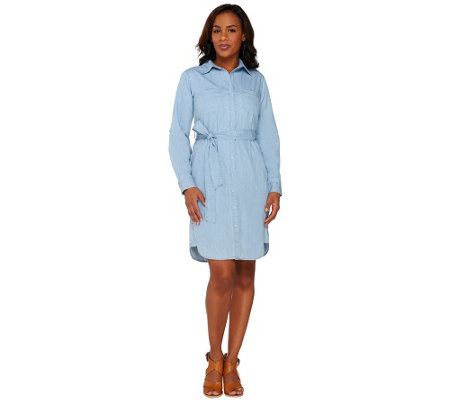 """As Is"" Joan Rivers Petite Length Denim Shirt Dress with Tie Belt"