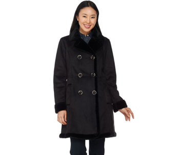 C. Wonder Faux Shearling Double Breasted Coat - A281629