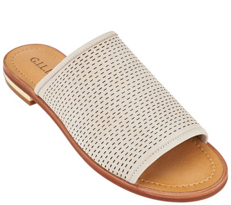 """As Is"" G.I.L.I Leather Perforated Slides - Hildie"