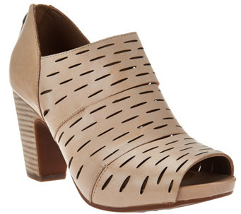 """As Is"" Clarks Artisan Leather Perforated Booties - Okena Sass - A283629"