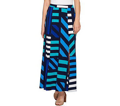 Susan Graver Printed Liquid Knit Six Gore Maxi Skirt with Slit - A284129