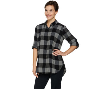 Joan Rivers Buffalo Check Shirt with Faux Leather Detail - A284429