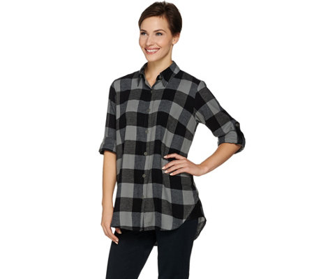 Joan Rivers Buffalo Check Shirt with Faux Leather Detail
