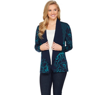 Susan Graver Printed Liquid Knit Long Sleeve Cardigan - A285429