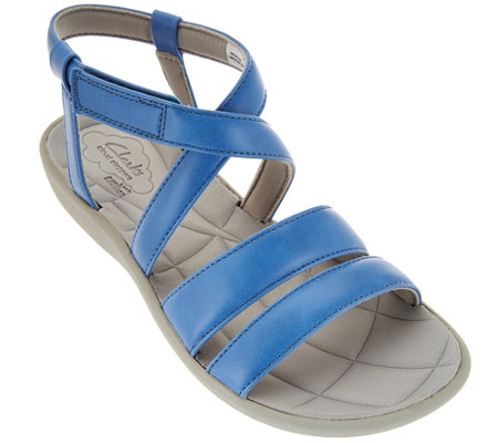 """As Is"" Clarks Cloud Steppers Multi-strap Sport Sandals - Sillian Spade"