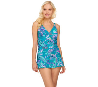 """As Is"" Ocean Dream Signature Island Paisley X-Back Swim Dress - A286029"