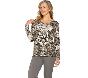 Isaac Mizrahi Live! Engineered Damask Print Knit Top - A286129