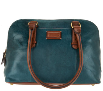 """As Is"" Tignanello Glazed Vintage RFID Dome Satchel - A286329"