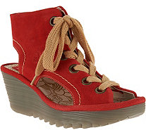 FLY London Suede Lace-up Wedges - Yaba - A286429