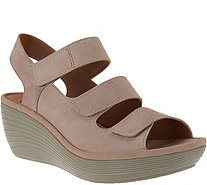 Clarks Nubuck Triple Strap Wedge Sandals - Reedly Juno - A286629