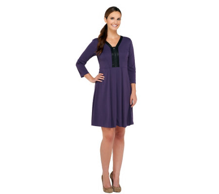 """As Is"" SA by Seth Aaron Knit Dress with Faux Leather Detail"