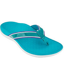 Vionic Orthotic Stripe Leather Thong Sandal - Tide Sport - A287729