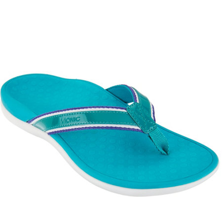 Vionic Orthotic Stripe Leather Thong Sandal - Tide Sport