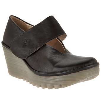 FLY London Leather Mary Jane Wedges - Yan - A287929