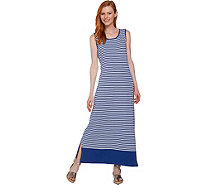 Denim & Co. Striped Sleeveless Maxi Dress with Solid Border - A288729