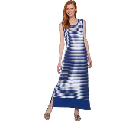 Denim & Co. Striped Sleeveless Maxi Dress with Solid Border
