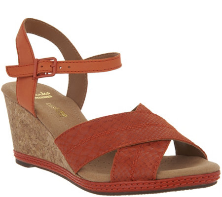 Clarks Leather Cork Wedge Sandals - Helio Latitude