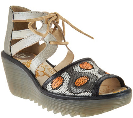 FLY London Leather & Raffia Lace-up Wedges - Yafi