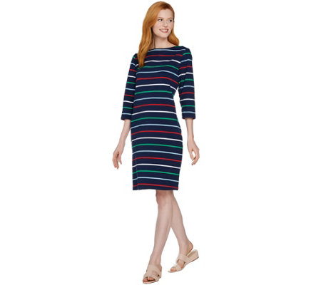 Denim & Co. Perfect Jersey Boat Neck 3/4 Sleeve Striped Dress