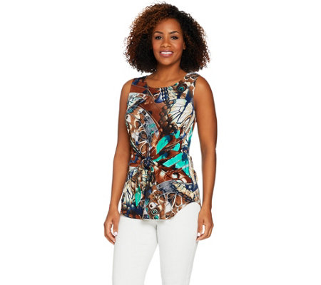 Attitudes by Renee Printed Tie-Front Knit Tank Top