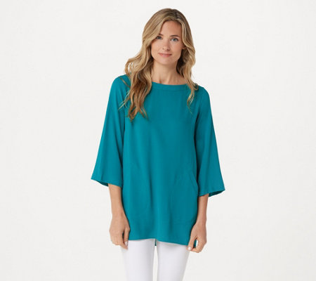 Linea by Louis Dell'Olio Pebble Crepe Tunic with Inverted Pleats