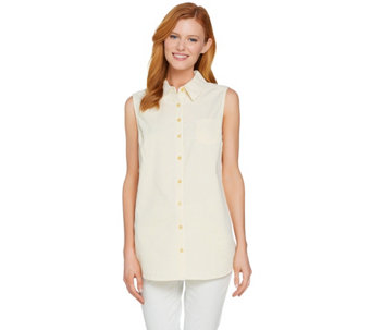 Denim & Co. Button Front Seersucker Sleeveless Collared Tunic - A291629
