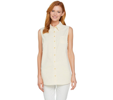 Denim & Co. Button Front Seersucker Sleeveless Collared Tunic