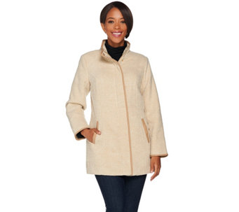 """As Is"" Dennis Basso Tweed Coat with Faux Leather Trim - A291829"