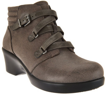 """As Is"" Alegria Leather Ankle Boots with Buckle - Indi - A293429"