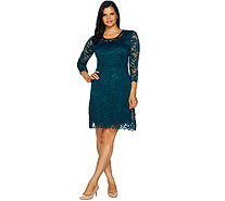 Isaac Mizrahi Live! Stretch Floral Lace 3/4 Sleeve Dress - A293929