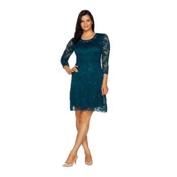 Isaac Mizrahi Live! Stretch Floral Lace 3/4 Sleeve Dress