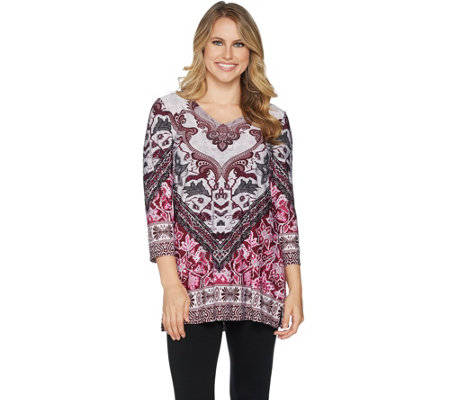 Attitudes by Renee Placement Print V-Neck Tunic w/ Side Slits