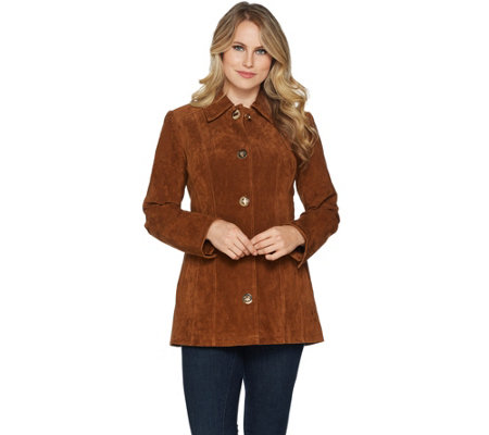 Dennis Basso Washable Suede Turnkey Jacket