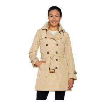 Joan Rivers Water Resistant Trench Coat w/ Removable Hood