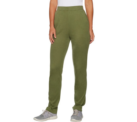 Denim & Co. Active Brushed Jersey Straight Leg Pull-On Pants