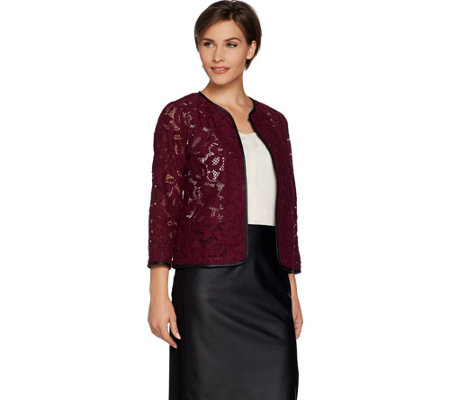 Joan Rivers Who Are You Wearing Lace Jacket w/ Faux Leather