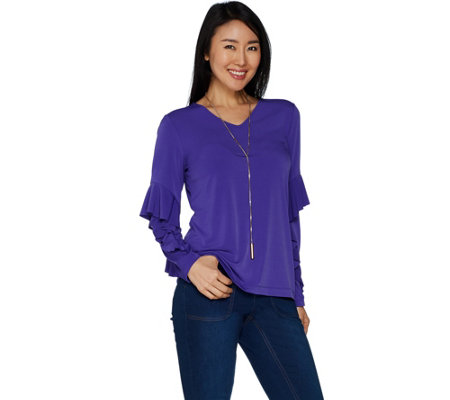 Susan Graver Liquid Knit Top with Ruffle Sleeves