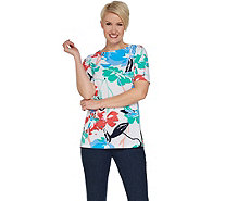 Susan Graver Printed Liquid Knit Short Sleeve Top - A302629