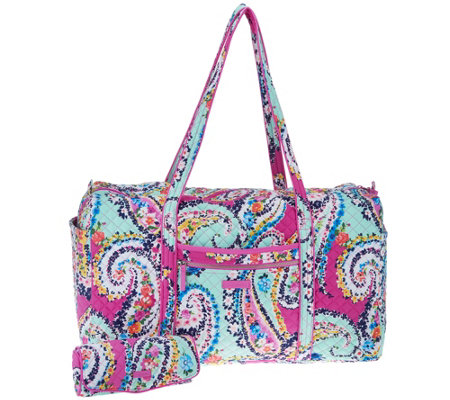 Vera Bradley Iconic Signature Large Duffel with Cosmetic Case