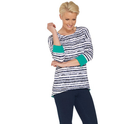 Women with Control Striped Dropped Shoulder Top w/ Contrast Cuff