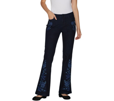 """As Is"" G.I.L.I. Regular Flare Leg Jean with Embroidery"