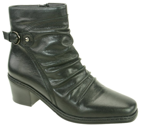 David Tate Pleated Leather Ankle Boots - Veronica
