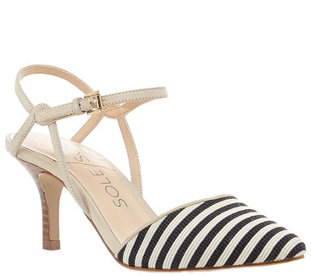Sole Society Pointed Mid Heel Pumps - Rima Stripe