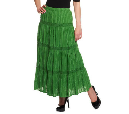 Susan Graver Weekend Fully Lined Crinkle Cotton Tiered Skirt