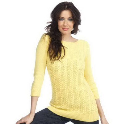 Isaac Mizrahi Live! 3/4 Sleeve Cotton Cable Bateau Sweater