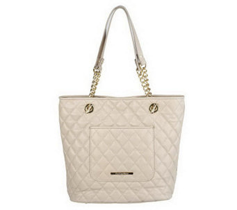 Isaac Mizrahi Live! Quilted Leather Tote with Chain Detail - A218730