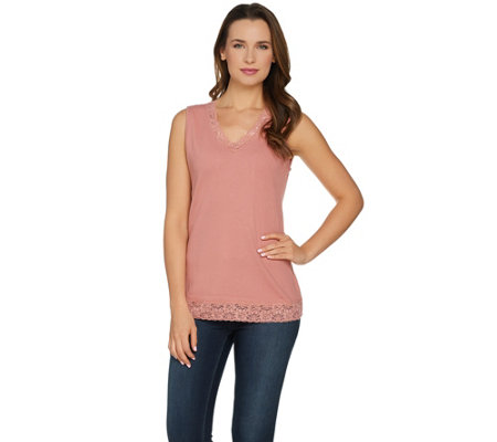 Denim & Co. Essentials Lace Trim V-Neck Ribbed Tank