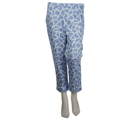 Bob Mackie's Giraffe Print Pique Cropped Pants w/Side Zip